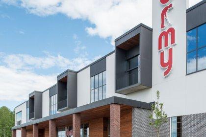 En Dormy butik som är byggd enligt Strängbetongs koncept för Bashall.