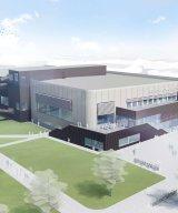 Nya badhuset i Kungsbacka som står klart 2020 med stomme från Strängbetong. Illustration: PP Arkitekter